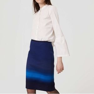 NWT Loft Cadet Blue Ombré pencil  Skirt